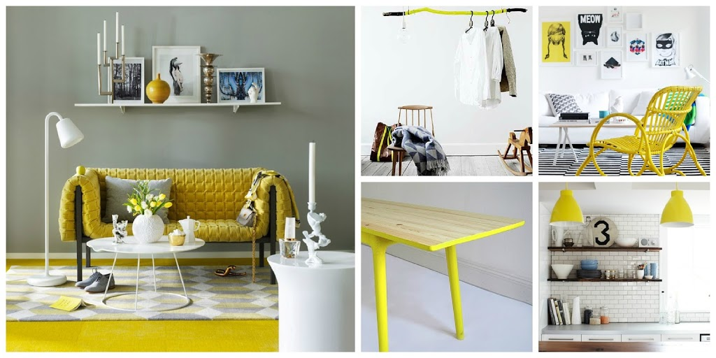D co entree jaune for Decoration jaune